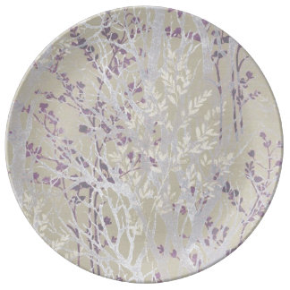 Porcelain Plate/Winter Silver-Purple Image Plate