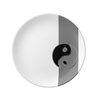 Porcelain plate Yin Yang Gray Black/