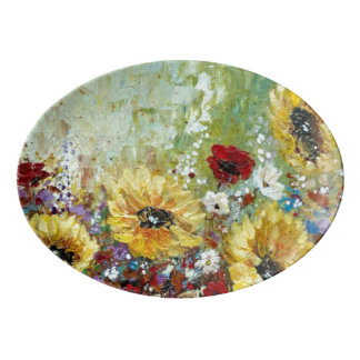 Porcelain Platter Sunflowers
