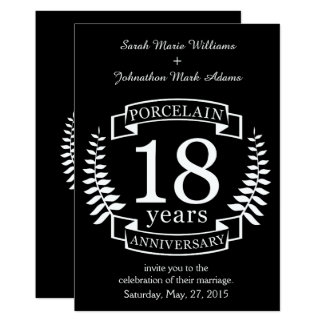 Porcelain traditional wedding anniversary 18 years card