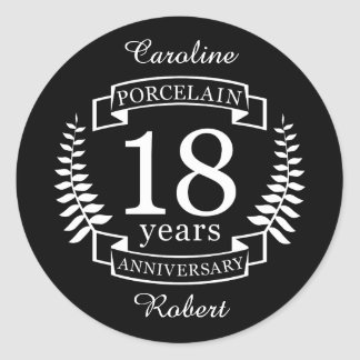 Porcelain traditional wedding anniversary 18 years classic round sticker