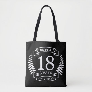 Porcelain traditional wedding anniversary 18 years tote bag