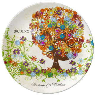 Porcelain Wedding Date Anniversary Foral Tree Plate