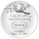 Porcelain Wedding Date Anniversary Love Bird Plate Porcelain Plate