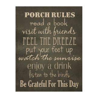 Porch Rules - Black & White Home Decor Wood Canvas