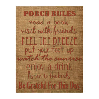 Porch Rules - Home Decor Sign Wood Prints