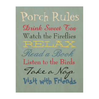 Porch Rules Wood Wall Art Wood Canvases