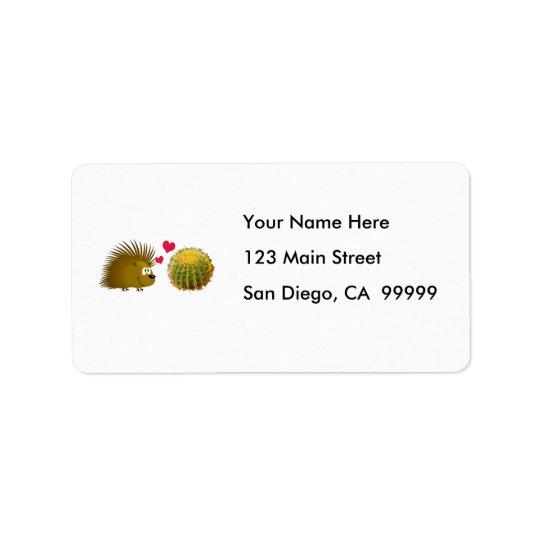 Porcupine Loves Cactus Address Label