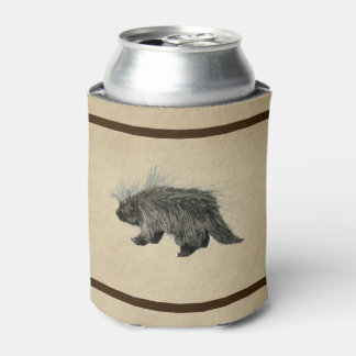Porcupine On Old Paper Can Cooler