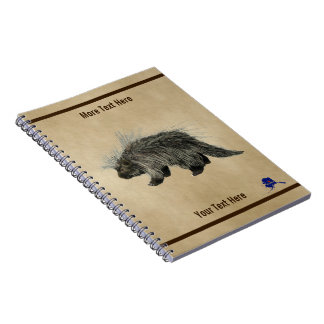 Porcupine On Old Paper Notebook