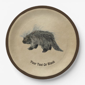 Porcupine On Old Paper Paper Plate