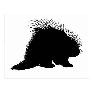 Porcupine silhouette postcard
