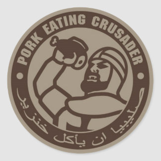 PORK EATING CRUSADER ROUND STICKER