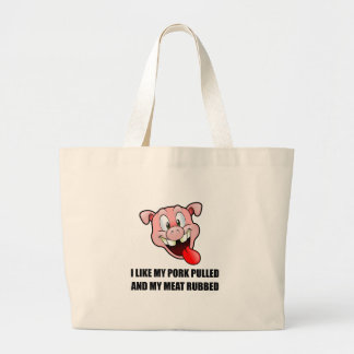 Pork Pulled Meat Rubbed BBQ Large Tote Bag