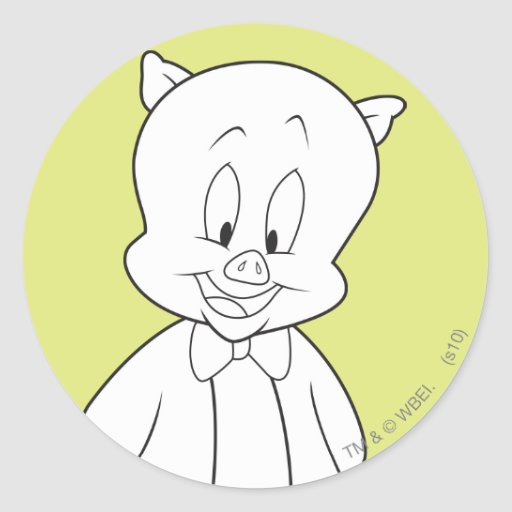 Porky Hello Friend Round Stickers