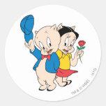 Porky Pig and Petunia Round Sticker