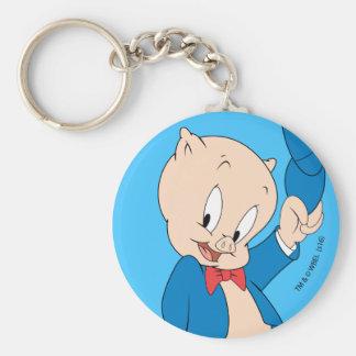 Porky Pig | Waving Hat Basic Round Button Key Ring