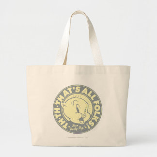 Porky TH-TH-THAT'S ALL FOLKS! Large Tote Bag