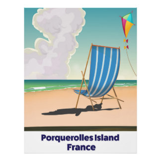 Porquerolles Island France travel poster
