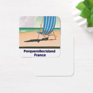 Porquerolles Island France travel poster Square Business Card