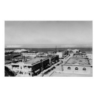Port Angeles, WA Town View and Harbor Photograph Print