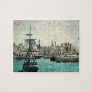 Port at Calais by Manet, Vintage Impressionism Art Jigsaw Puzzle