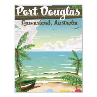 Port Douglas Australia vintage travel poster 11 Cm X 14 Cm Invitation Card