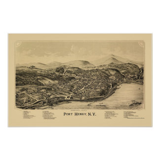 Port Henry, NY Panoramic Map - 1889 Poster