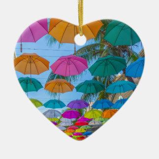 port louis le caudan waterfront umbrellas cap ceramic heart decoration
