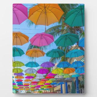 port louis le caudan waterfront umbrellas cap plaque