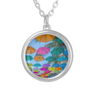port louis le caudan waterfront umbrellas cap silver plated necklace