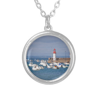 Port of Erquy in France Silver Plated Necklace