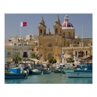 Port of Marsaxlokk on the Mediterranean Island Poster