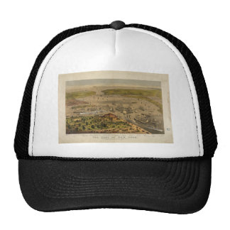 Port of New York by Currier & Ives in 1878 Mesh Hat
