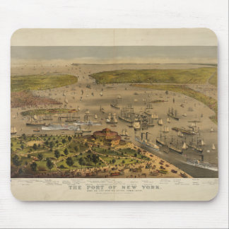Port of New York by Currier & Ives in 1878 Mousepad