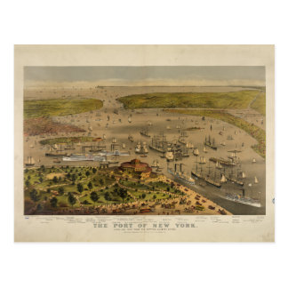 Port of New York by Currier & Ives in 1878 Postcard