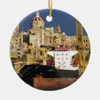 Port of Valletta. Round Ceramic Decoration