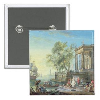 Port Scene with Setting Sun oil on canvas Pinback Button