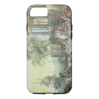 Port Scene with Setting Sun (oil on canvas) iPhone 7 Case