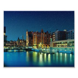 Port town center romance with stars photo
