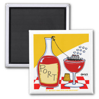 Port Wine Tasting Party Favor Cartoon Funny Magnet