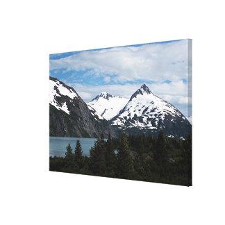 Portage Lake and mountains, Alaska, USA Canvas Print