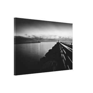 Portage Lake Pier Black and White Gallery Wrap Canvas