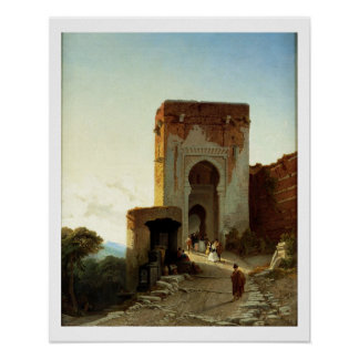 Porte de Justice, Alhambra, Granada (oil on canvas Poster