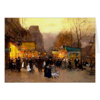 Porte Saint Martin at Christmas Time in Paris Card