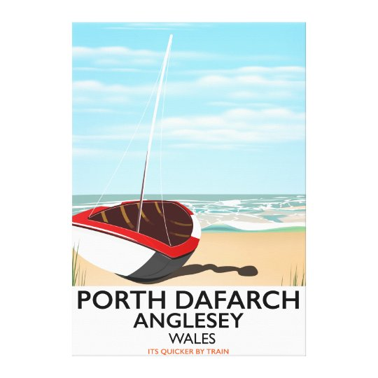 Porth Dafarch, Anglesey vintage travel poster Canvas Print