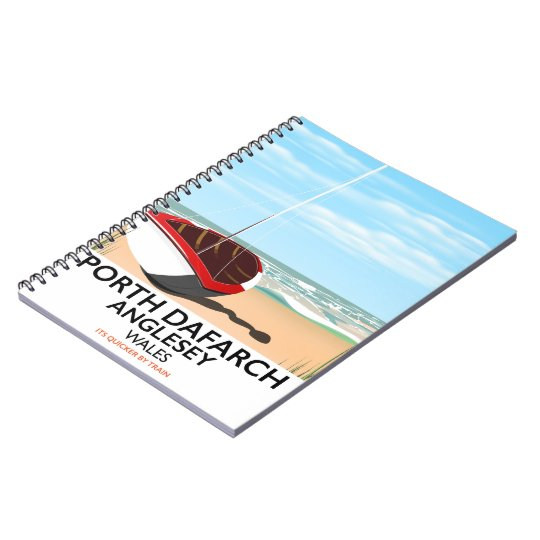 Porth Dafarch, Anglesey vintage travel poster Notebook