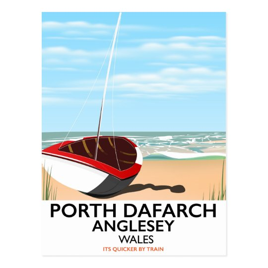 Porth Dafarch, Anglesey vintage travel poster Postcard