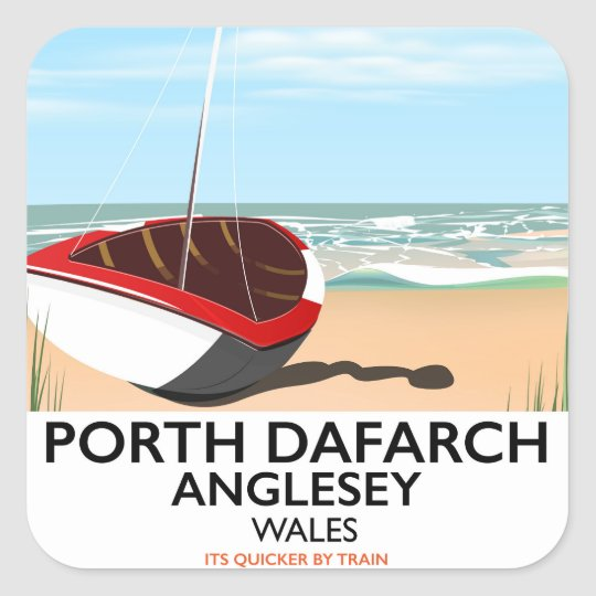 Porth Dafarch, Anglesey vintage travel poster Square Sticker