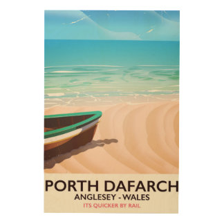 Porth Dafarch, Anglesey Welsh beach poster Wood Print
